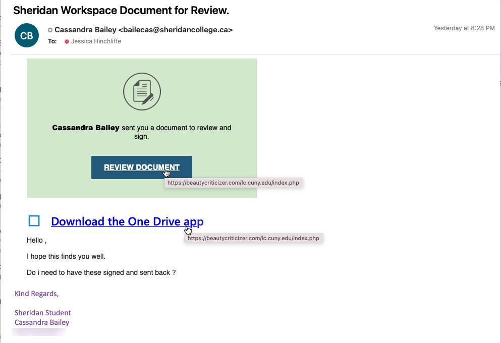 Phishing message sample