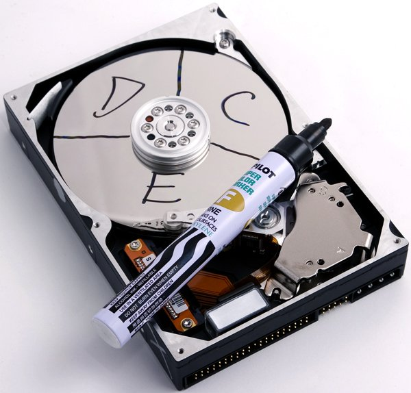 Hard Drive image with labeled partitions