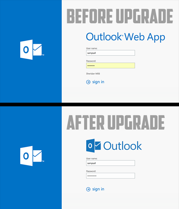 Outlook on the web: before and after pic