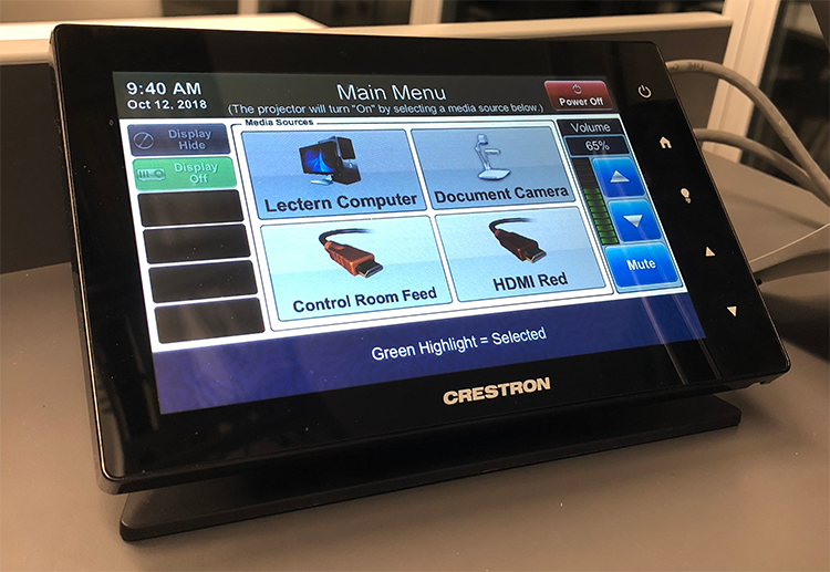 image of new Crestron touch screen controller