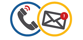 icons of phone handset and email notification