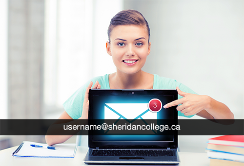image of woman behind laptop showing proper email format