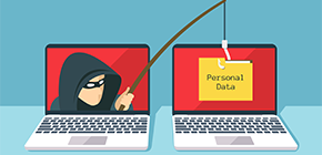 image of hacker with fishing pole and laptops
