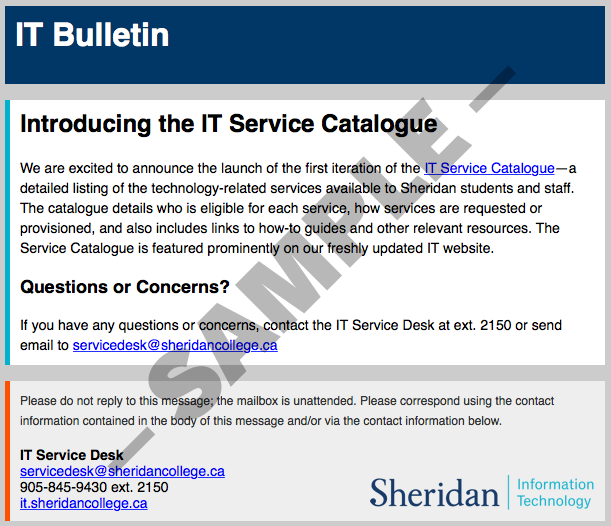 Sheridan college information technology news for Email bulletin template