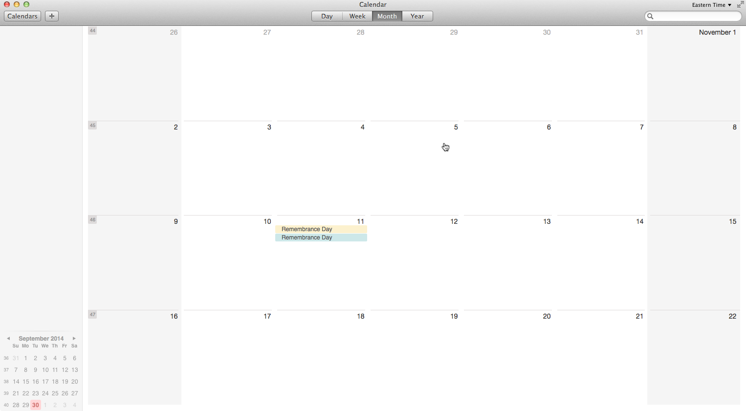 open calendar and double click or select inside the day you want to create a new entry
