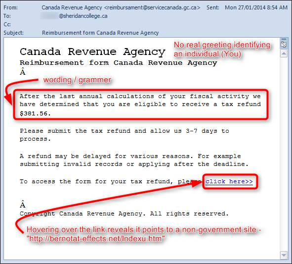 canada revenue phishing example do you have a desjardins account registered to your business email address
