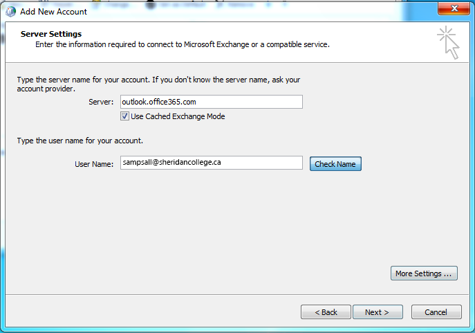 Student and alumni email and calendar configuring - Office 365 server settings for outlook 2010 ...