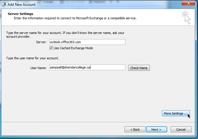 Student and alumni email and calendar configuring outlook 2010 to connect to office 365 - Office 365 server settings outlook ...