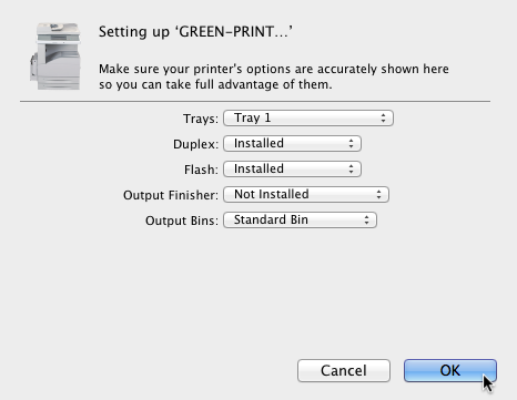 Printing Services - Setting up the GREEN Print Queues with OSX