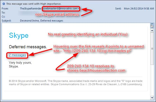how to get rid of skype on emails