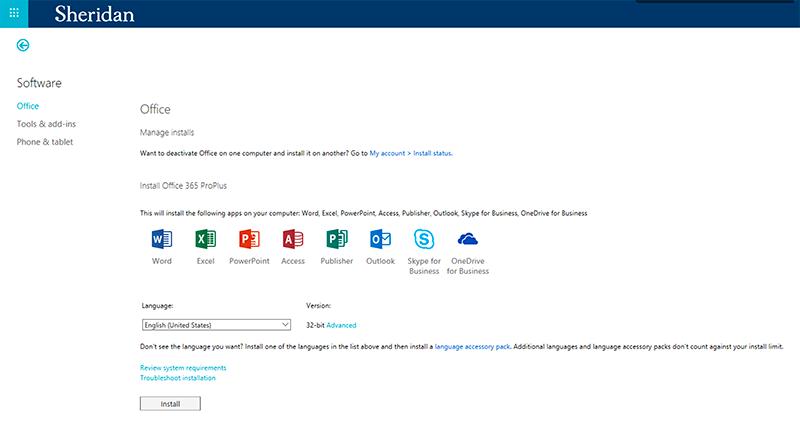 Software: Microsoft Office at Sheridan