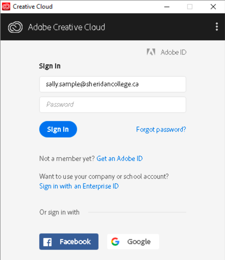 Adobe CC sign-in window