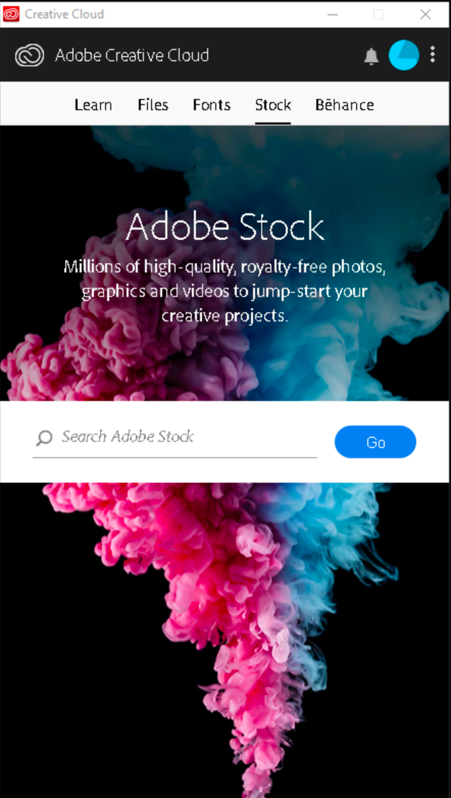 Authenticated view of Adobe CC desktop app